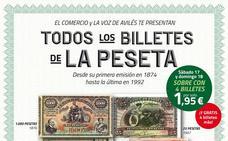 Todos los billetes de la peseta con EL COMERCIO y LA VOZ DE AVILÉS