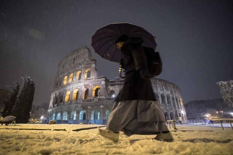 Roma, más bella que nunca bajo la nieve