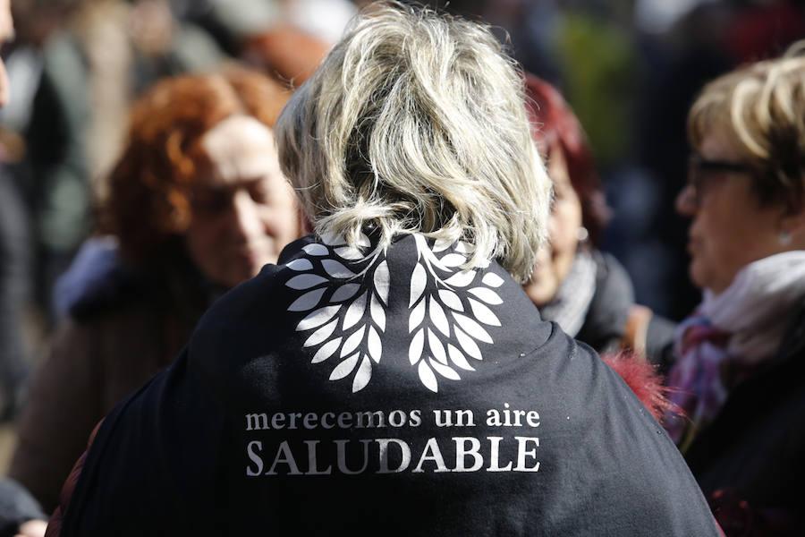 Miles de personas se concentra en Gijón contra la contaminación en Asturias