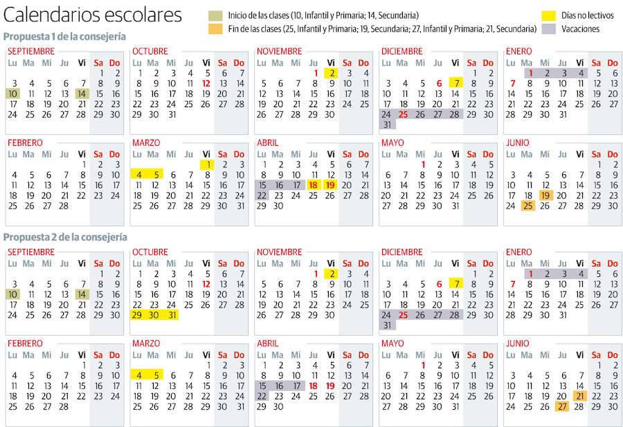 Calendarios escolares propuestos por Educación
