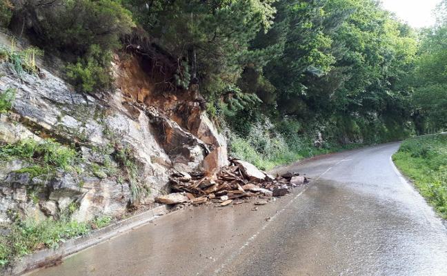 Un desprendimiento de rocas afectó a una carretera de Tineo