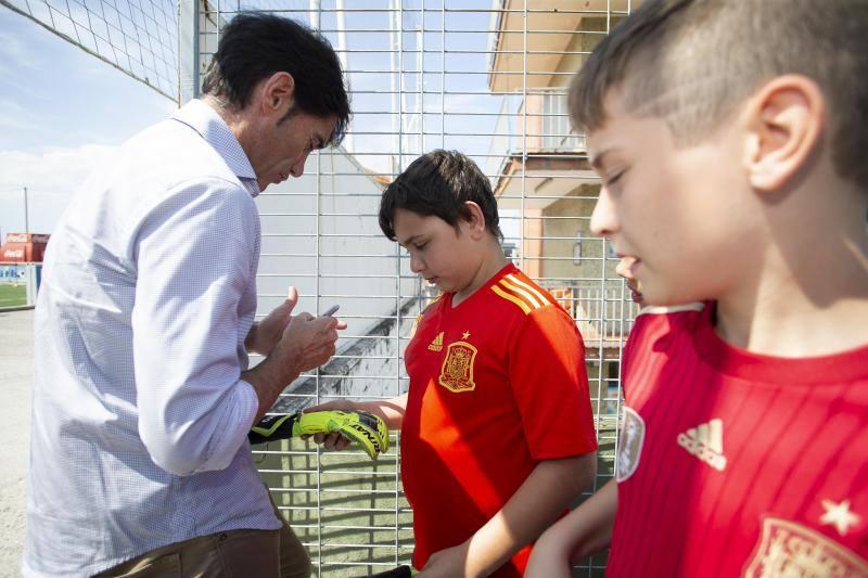 Marcelino García Toral visita el campus de la Federación Asturiana de Fútbol