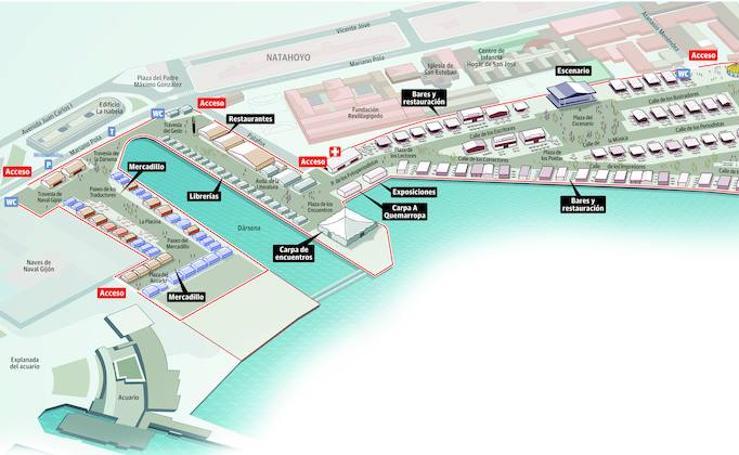Plano del recinto la Semana Negra de Gijón