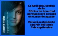 La Asesoría Jurídica de la Oficina de Juventud cierra durante el mes de agosto
