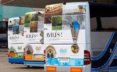 Ocho autobuses del Plan de Transporte a Covadonga llevan publicidad de Avilés