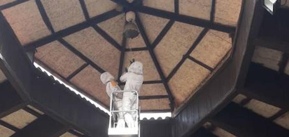 Los bomberos retiran el nido de avispas asiáticas del Pueblo de Asturias