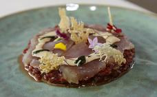 Solomillo de ternera, bonito en tartar y sashimi