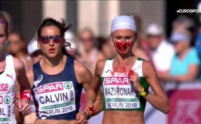 La impactante imagen del Europeo de maratón: Mazuronak consigue el oro cubierta de sangre