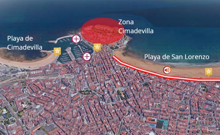 El plano más detallado de la Noche de Fuegos en Gijón