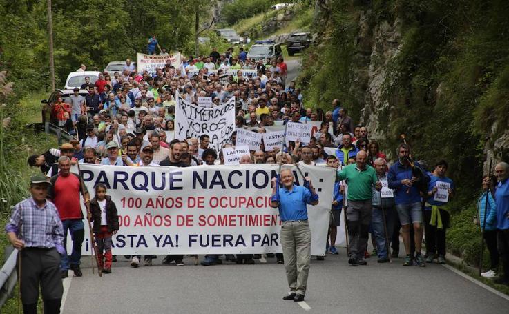 Los ganaderos cortan la carretera de Sotres como protesta por los ataques del lobo