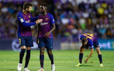 El Barça, feliz por los puntos y por salir ileso de la «playa» de Zorrilla