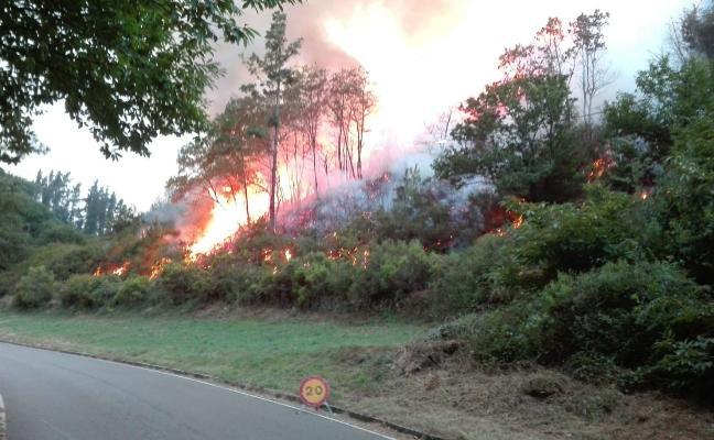 Un fuego provocado alarma en Navelgas al llegar a 200 metros de las viviendas
