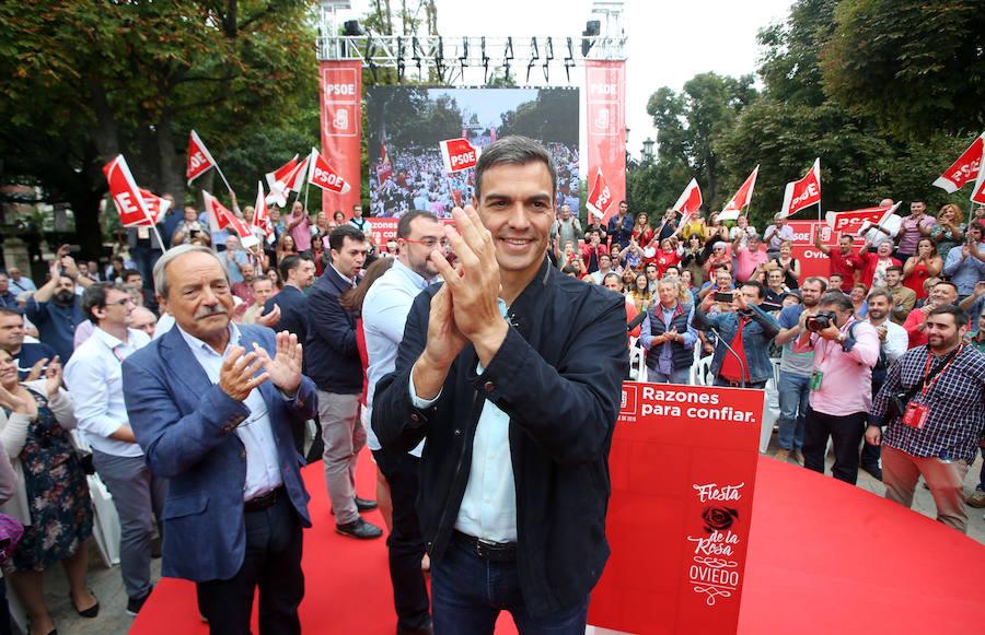 Pedro Sánchez, en la Fiesta de la Rosa en Oviedo