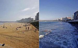 La pleamar y la bajamar con mareas vivas transforma San Lorenzo en Gijón