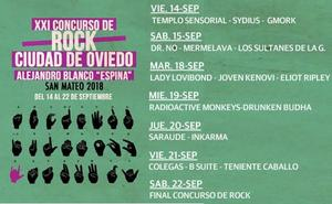 Participantes del Concurso de rock Ciudad de Oviedo 2018
