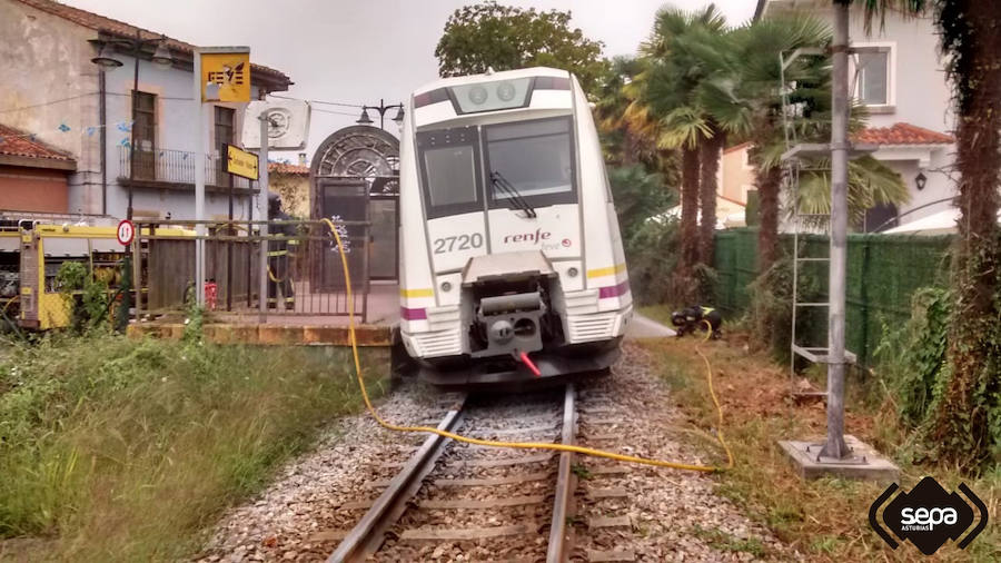 Arde un motor de un tren de pasajeros en Llanes
