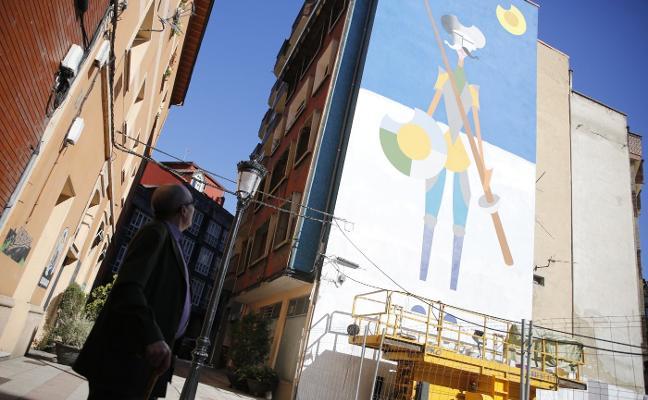 Un gran y colorido Quijote ilumina el espacio de la Belter