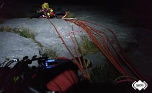 Seis horas de operativo con viento y sin luz para rescatar a los montañeros que quedaron colgados en el Fresnidiello