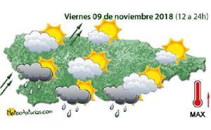 Lluvias y rachas de viento de hasta 100 kilómetros por hora para este viernes en Asturias