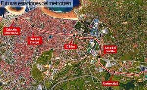 Las nuevas estaciones de Gijón dejarían el tren a menos de 600 metros a 72.000 vecinos