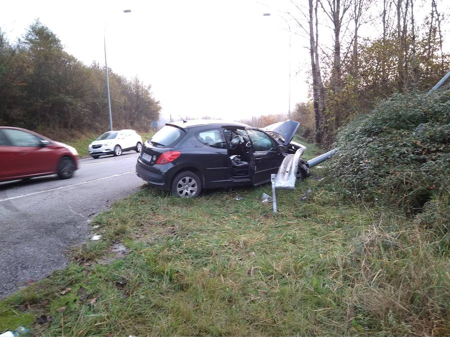 Un herido tras chocar con su coche contra un jabalí a la entrada de Infiesto