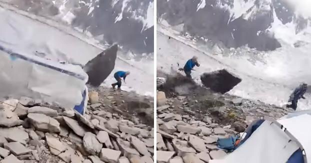 No apto para cardíacos: la roca cayendo y la infinita suerte del escalador