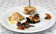 Cocochas de merluza del pinchu en vinagreta de centollo y oricio