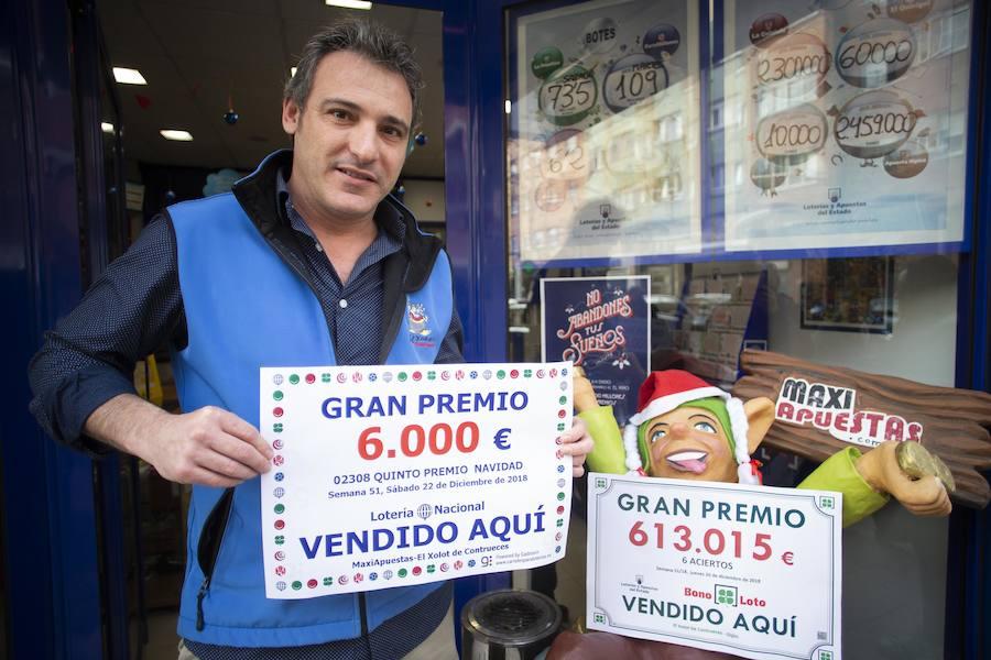 Un cuarto y tres quintos de la Lotería de Navidad, muy repartidos en Asturias