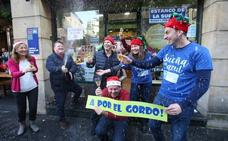 Celebrando un quinto premio en Oviedo cuando cayó el Gordo