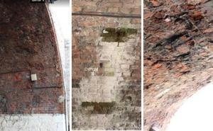 El túnel de Arnao presenta numerosos daños provocados por las filtraciones