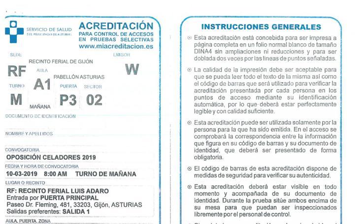 Acreditación para control de accesos en pruebas selectivas