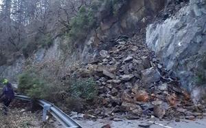 Un argayo corta por completo la As-29 entre Cangas del Narcea e Ibias