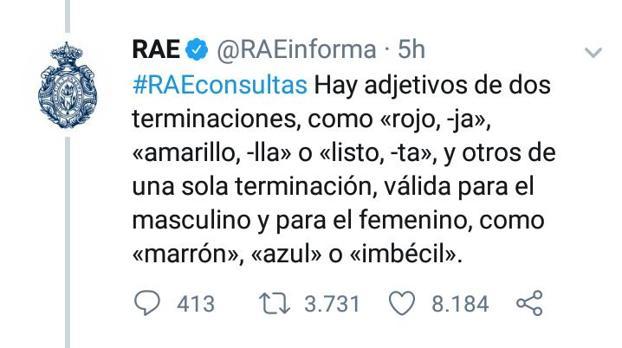 La viral respuesta de la RAE sobre la palabra «marrona» e «imbécil»