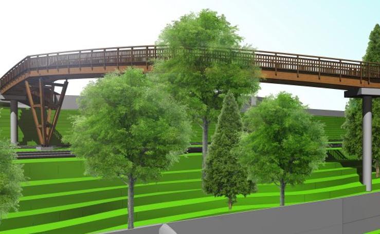 Recreación de la pasarela que conectará Nuevo Roces con la Carretera del Obispo