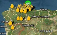 La localización de los fuegos en Asturias