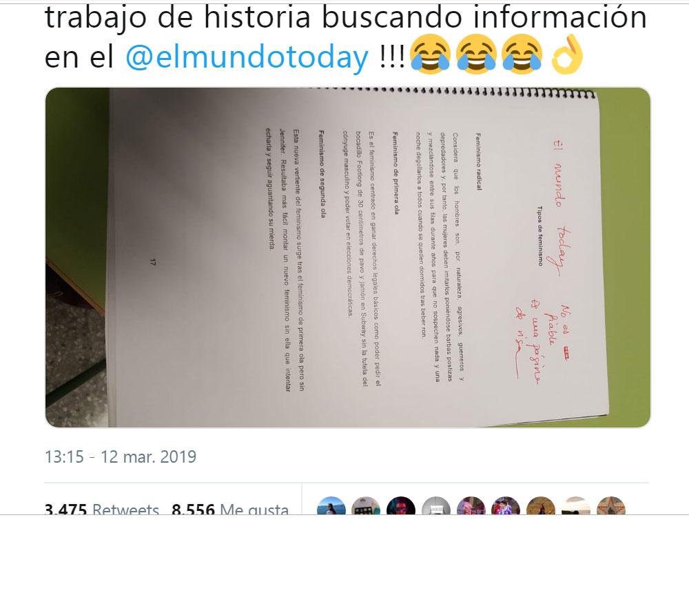 El caso viral de una alumna que utiliza 'El Mundo Today' como fuente para un trabajo