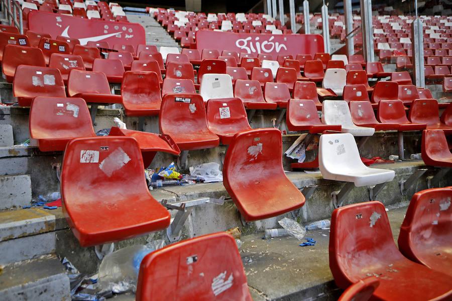 Desperfectos en El Molinón tras el derbi Sporting - Real Oviedo