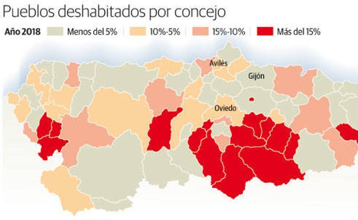 Pueblos deshabitados por concejo en Asturias