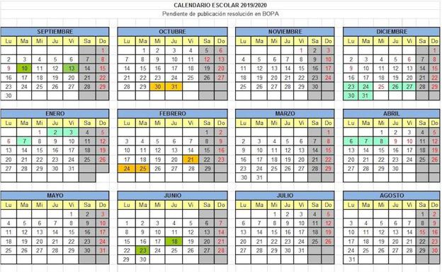 Calendario 2020 Marzo Abril.Asturias Aprueba El Calendario Escolar 2019 2020