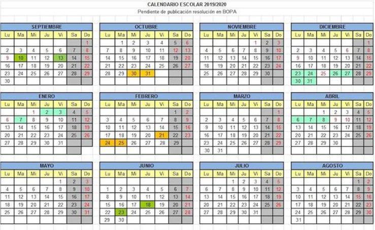 Calendario escolar 2019 - 2020 en Asturias