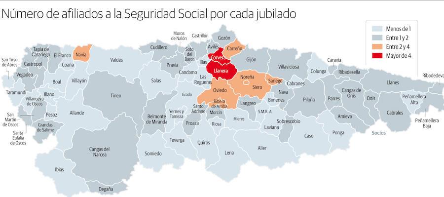 El 42% de los municipios del Principado cuenta con más jubilados que cotizantes