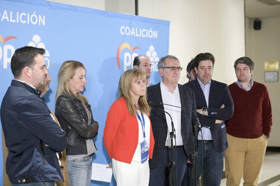 La sede del PP asturiano tras conocer los resultados electorales