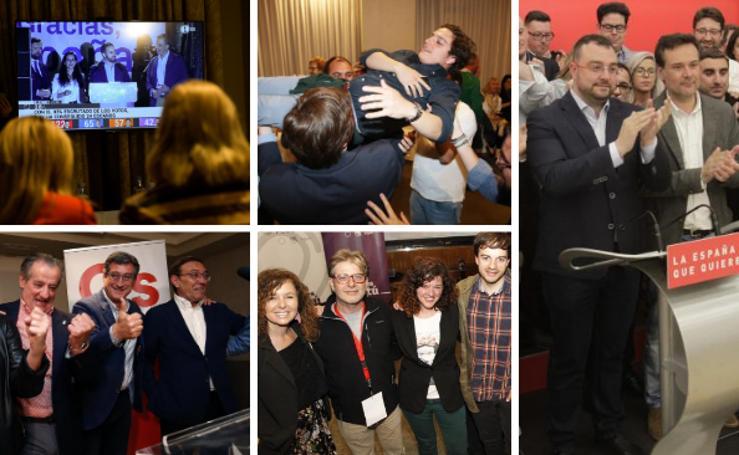 Las imágenes que deja la noche electoral en Asturias