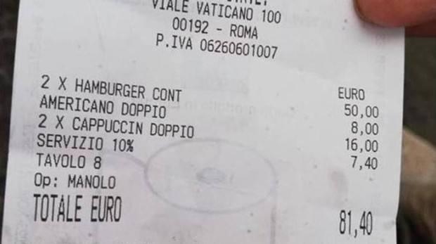 Nuevo timo a turistas en Italia: 81 euros por dos hamburguesas y tres cafés