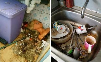 Carne putrefacta y gusanos en un piso de alquiler donde vivía una madre y sus cinco hijos en Oviedo
