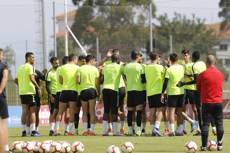 Sesión preparatoria del Sporting en Mareo (06-06)