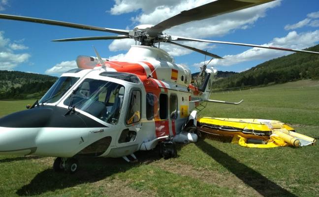 Un Helimer sufre un accidente en Cuenca cuando se dirigía a El Musel