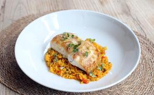 Lomo de merluza del pinchu con arroz meloso de berberechos