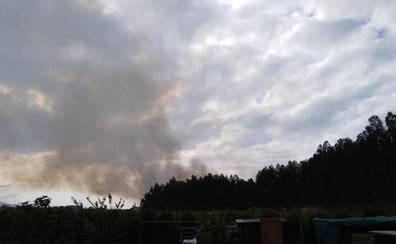 Los bomberos luchan contra un incendio cerca del aeropuerto de Asturias