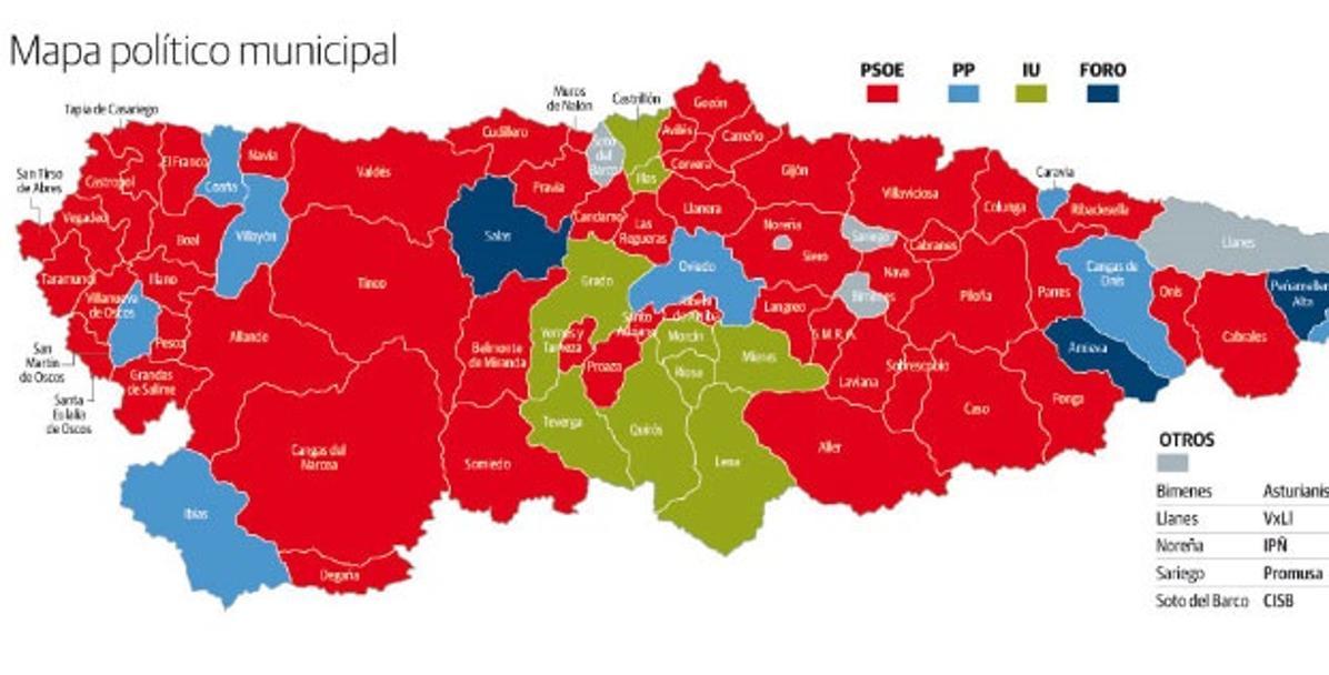 Mapa De Asturias Concejos.El Nuevo Poder Municipal De Asturias El Comercio